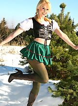 Between Legs, Joceline looking stunning in fraulein outfit with boots and pantyhose.