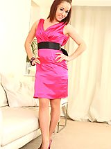 Naughty Office, Kayleigh P takes her evening dress off revealing gorgeous satin lingerie.