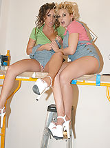 Classy Legs, Kelly and Ryan have a foursome and fuck their blonde and brunette hot slutty house painters.