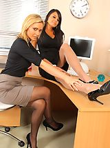 Bebe and Jenna J lock themselves in their office to strip each other out of their smart work clothes.