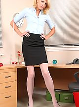 Open Legs, Slender secretary flirts with her colleagues before teasing them with her hot nude body.