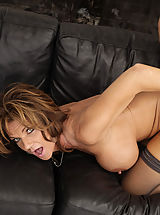 nylon stockings, Busty hot milf Deauxma is horny after her divorce so for mothers day she gets to swallow her son's friends cock and he pumps her pussy with his big cock.
