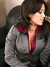 Sexy Secretaries, Sexy brunette in stockings fucks a married man