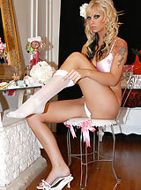black stocking, New bride Brooke gets her honeymoon started by sucking and fucking Ryan until he explodes.