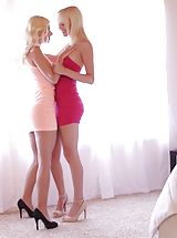 Spike Heels, Blondes Sierra Nevadah and Jessie Volt rip each others clothes off and hit the bed for a wet and wild pussy licking 69