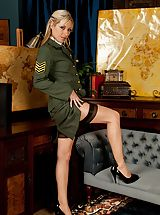 Six Inch Heels, Golden-haired milf Sophie Kaye unclothes off sexy army uniform.