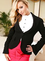 Sexy Legs, Secretary Alana looks amazing dressed in a black jacket and pink miniskirt after work. Non Nude