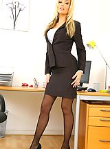 Secretary Pics: Beauty secretary in miniskirt and satin lingerie.