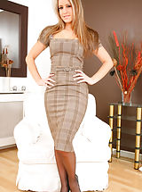 Legs, Beautiful blonde in smart checkered dress and light lingerie. Non Nude