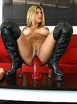 Cindy rams her twat with a dildo