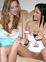 Upskirt Pics: Content of Lanny Barby - Lanny and I were lounging on the couch with our bare coochies hanging out. We were having a girls night in together and had planned on some big