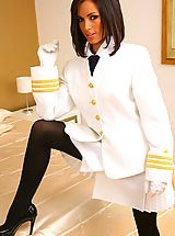 High Heel Boot, Stunning brunette Gemma M in sexy Top Gun style uniform and thick black pantyhose.