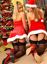 Jodie Gasson and Melissa D as sexy Santa's