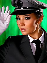 Rachael B gives a real treat as she slips out of the driver uniform.