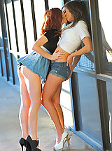 Miniskirt Tease, Elle and Malena making out