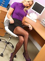Prudence looks stunning in black mini skirt and purple top