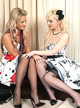 Lingerie Pics: Faye and Natalia - Nylon foot loose...