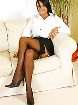 6 inch Heels, Sultry Sophie in secretary outfit with black stockings