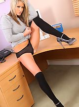 Only Secretaries, Candice is gorgeous in this grey jumper revealing her cute black lingerie