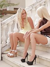 Classic Pumps, Blonde babes Jenny Simons and Lena Love lick each others dripping fuck holes and then use a toy for orgasmic pleasure