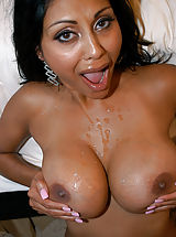 Priya Rai is an exotic big cock loving slut that can't get enough cum unloaded on her huge tits!